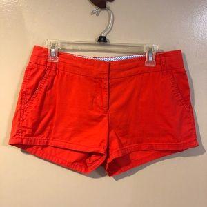 Orange Red J Crew Chino Shorts Size 6 EUC